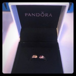 Pandora Open Hearts Rose Gold Ring size 6!